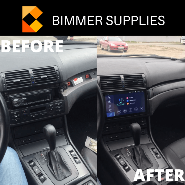 BMW 3 Serie e46 navigatie android before after